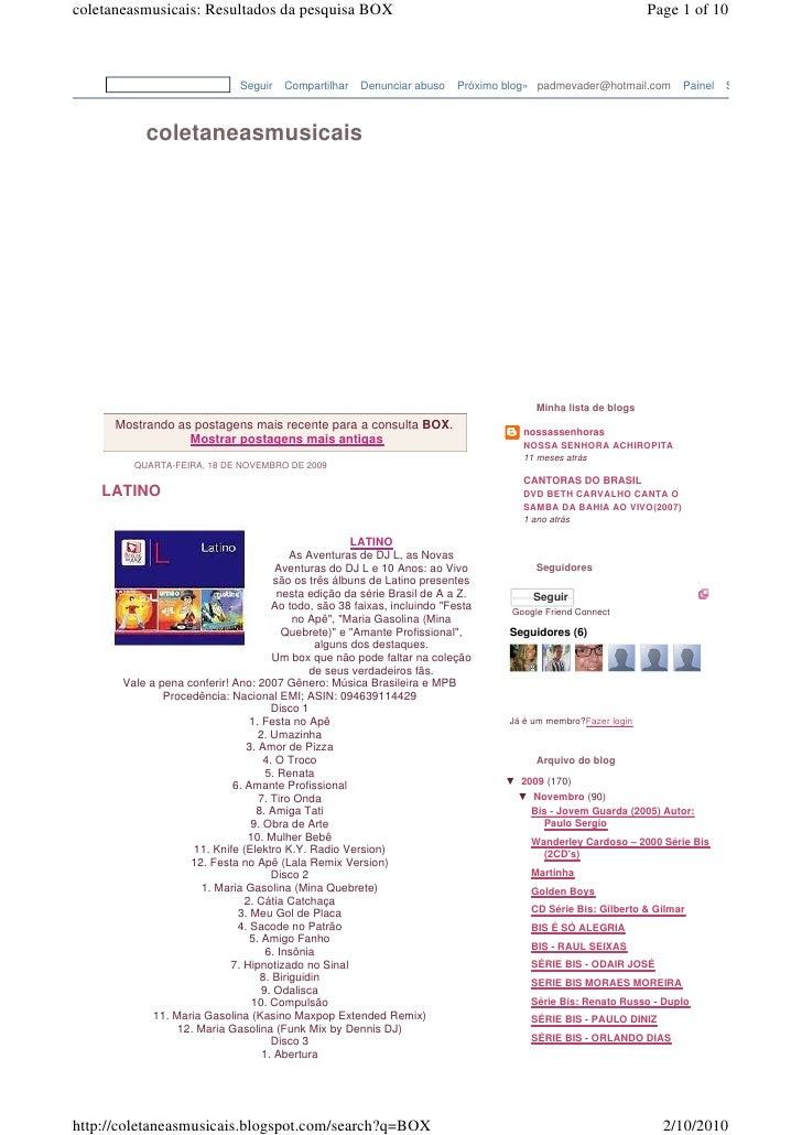 coletaneasmusicais: Resultados da pesquisa BOX                                                                  Page 1 of ...