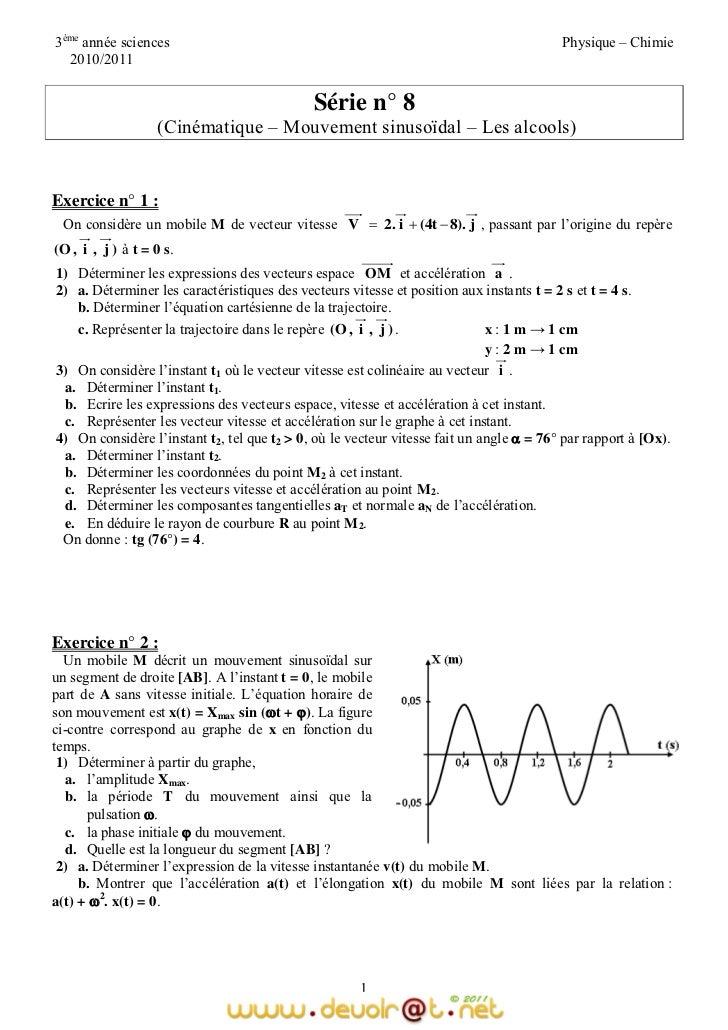 Serie D Exercices N 8 Sciences Physiques Cinematique Mouvement S