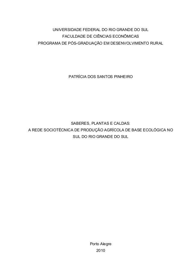 UNIVERSIDADE FEDERAL DO RIO GRANDE DO SUL  FACULDADE DE CIÊNCIAS ECONÔMICAS  PROGRAMA DE PÓS-GRADUAÇÃO EM DESENVOLVIMENTO ...
