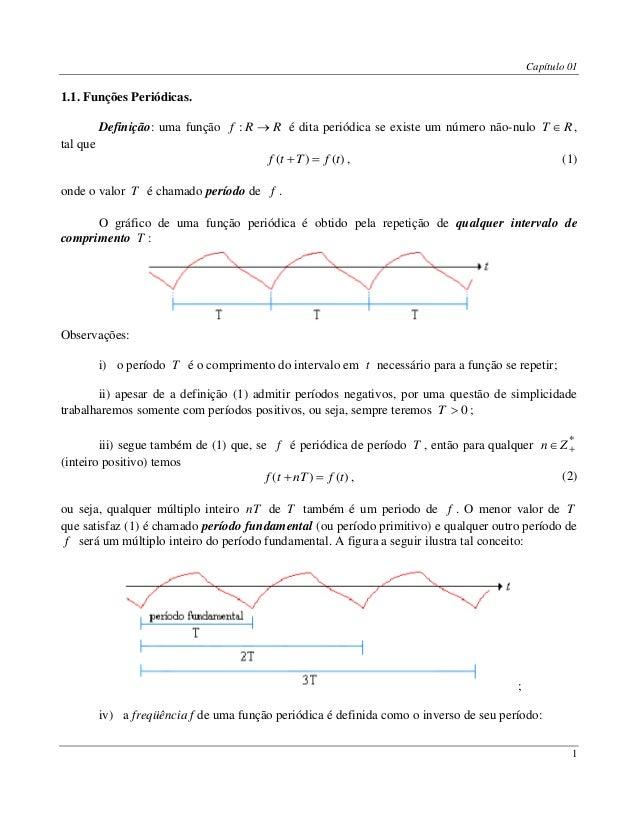 Capítulo 01 1 1.1. Funções Periódicas. Definição: uma função RRf : é dita periódica se existe um número não-nulo RT  , t...