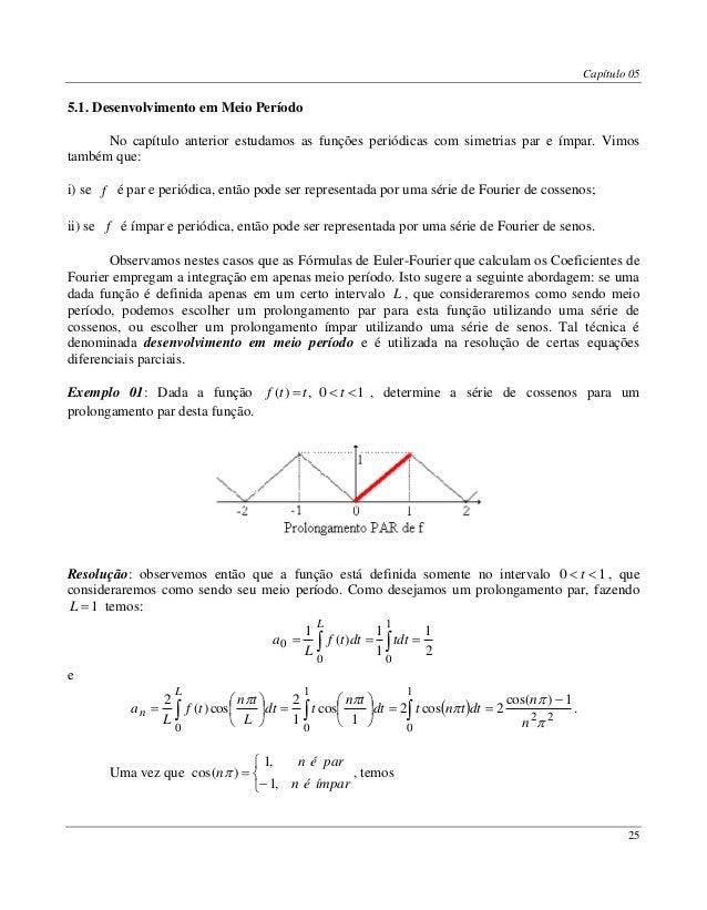 Capítulo 05 25 5.1. Desenvolvimento em Meio Período No capítulo anterior estudamos as funções periódicas com simetrias par...