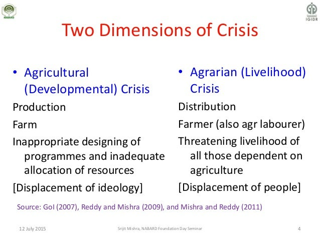 Two Dimensions of Crisis • Agrarian (Livelihood) Crisis Distribution Farmer (also agr labourer) Threatening livelihood of ...