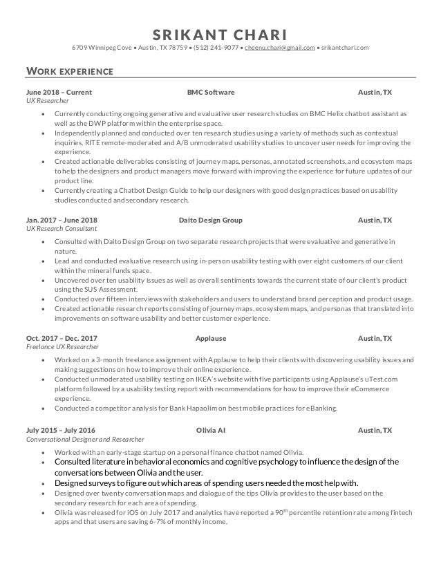 Ux researcher resume academic writing summary example