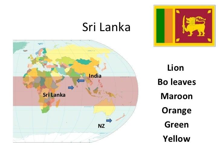 Sri Lanka Lion  Bo leaves Maroon Orange Green Yellow NZ Sri Lanka India