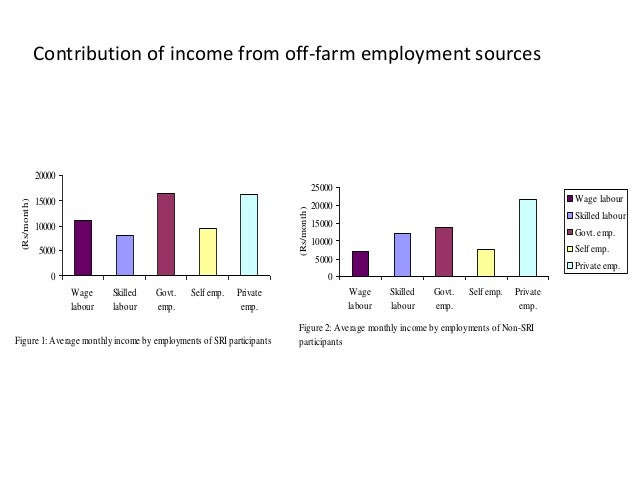 Figure 1:Average monthly income by employments of SRI participants 0 5000 10000 15000 20000 Wage labour Skilled labour Gov...
