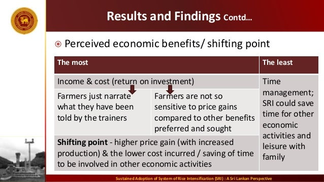 Results and Findings Contd…  Perceived economic benefits/ shifting point Sustained Adoption of System of Rice Intensifica...