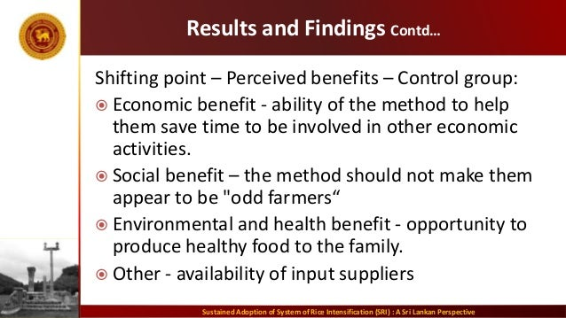 Results and Findings Contd… Shifting point – Perceived benefits – Control group:  Economic benefit - ability of the metho...
