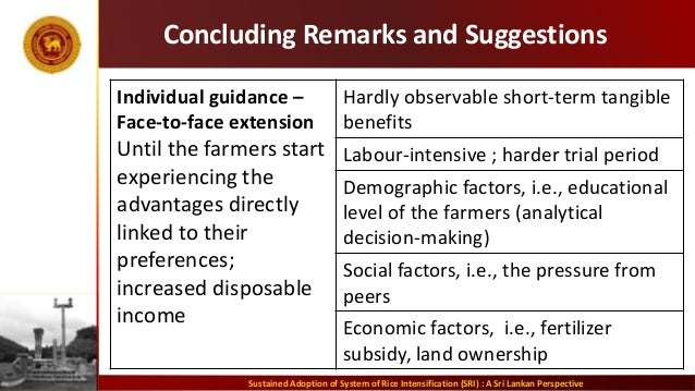 Concluding Remarks and Suggestions Individual guidance – Face-to-face extension Until the farmers start experiencing the a...