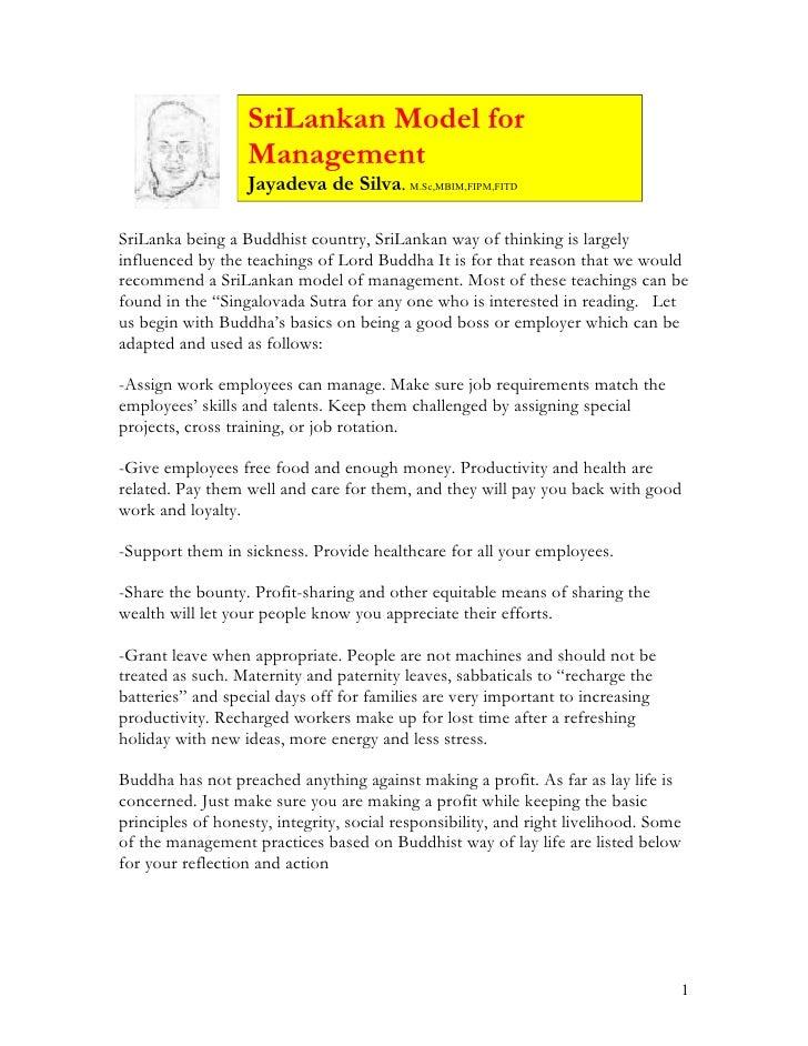 SriLankan Model for                    Management                    Jayadeva de Silva. M.Sc,MBIM,FIPM,FITD  SriLanka bein...