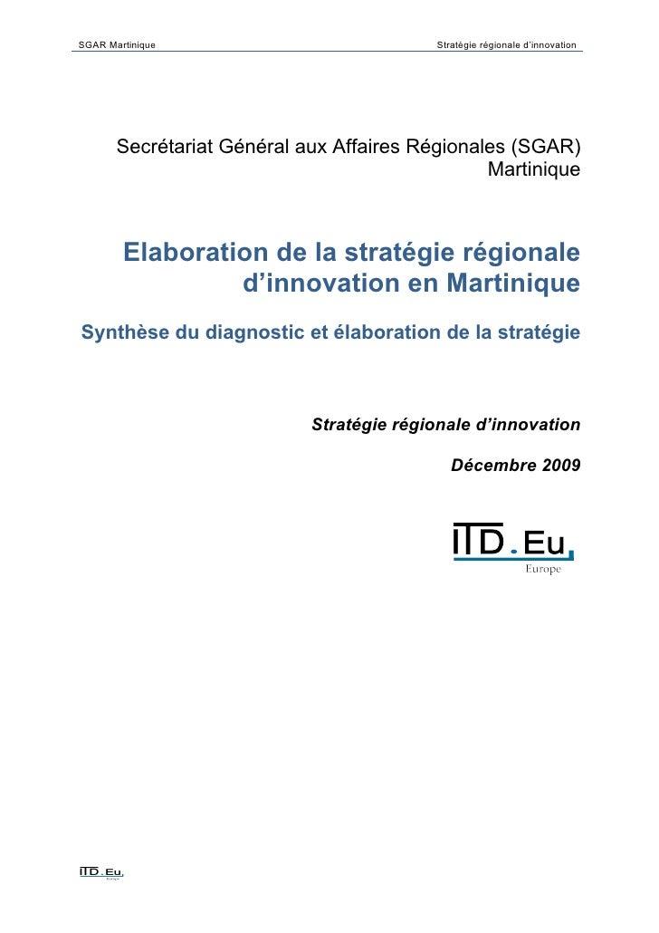 SGAR Martinique                           Stratégie régionale d'innovation            Secrétariat Général aux Affaires Rég...