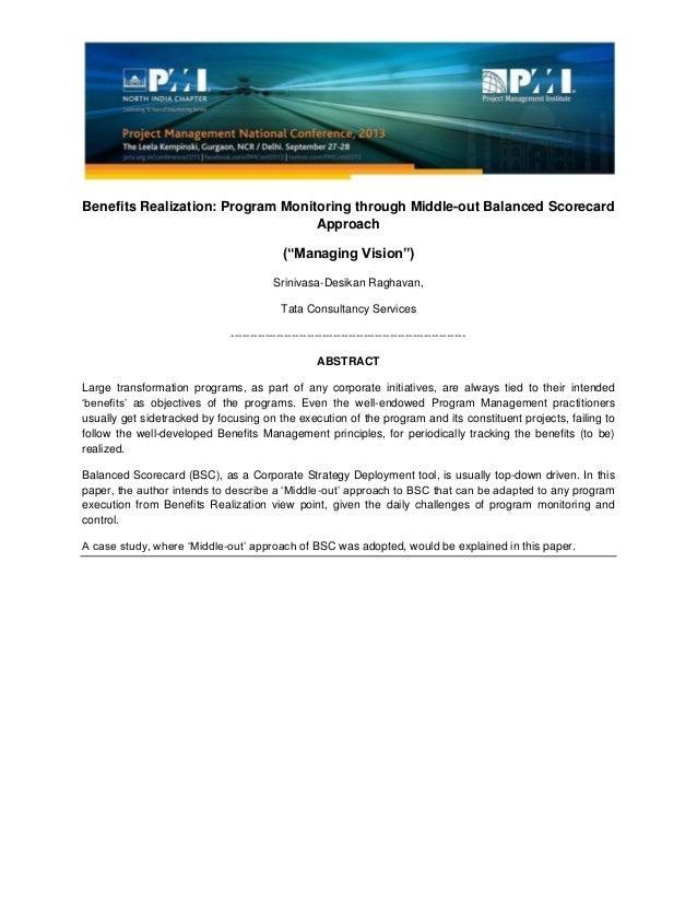 "Benefits Realization: Program Monitoring through Middle-out Balanced Scorecard Approach (""Managing Vision"") Srinivasa-Desi..."
