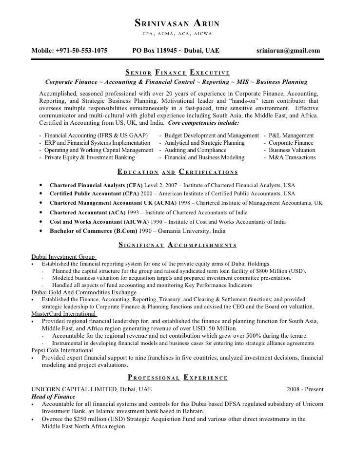 Resume. SRINIVASAN ARUN CPA ...  Private Equity Resume
