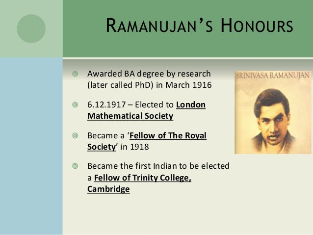 ppt on srinivasa ramanujan  cambridge 13
