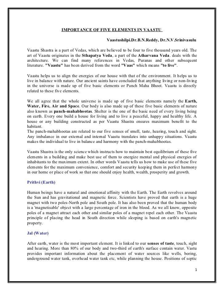 IMPORTANCE OF FIVE ELEMENTS IN VAASTU                                              Vaastushilpi.Dr.B.N.Reddy, Dr.N.V.Srini...