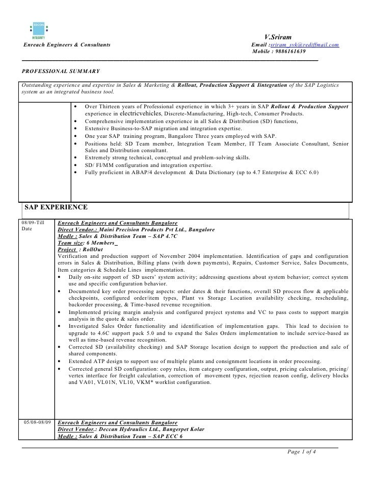 Sap sd 3 years for Sample resume for sap abap 1 year of experience