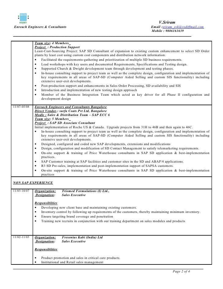 sap sd sample resume fast lunchrock co