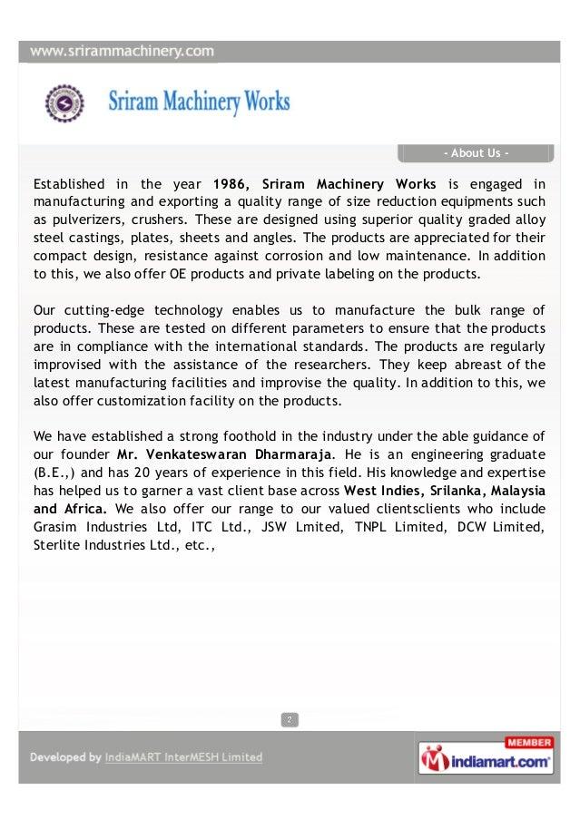 Sriram Machinery Works, Rajapalaiyam, Industrial Equipment Slide 2