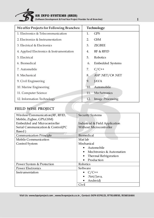 BPUT PROJECT LIST @ 2014-15