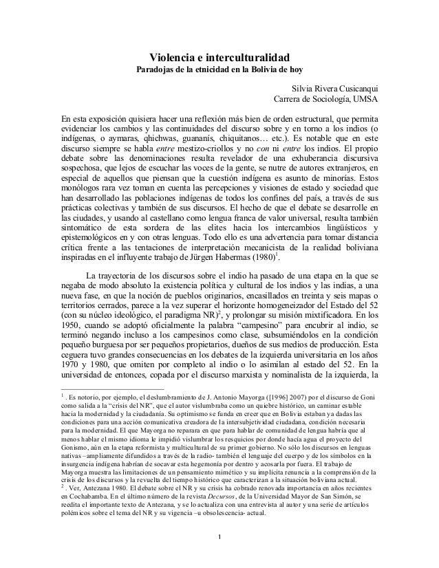 Violencia e interculturalidad Paradojas de la etnicidad en la Bolivia de hoy Silvia Rivera Cusicanqui Carrera de Sociologí...