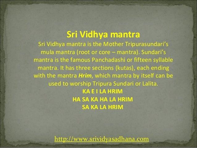 Sri vidhya mantra