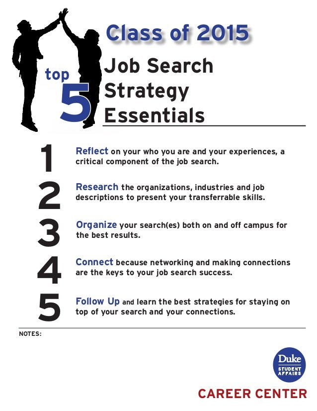 1 2 3 4 5 top 5 NOTES: CAREER CENTER Job Search Strategy Essentials Reflect on your who you are and your experiences, a cr...