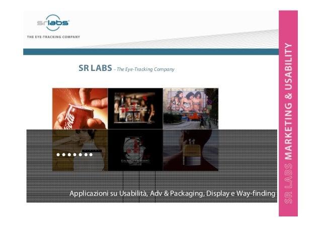 SR LABS – The Eye-Tracking Company ……. Applicazioni su Usabilità, Adv & Packaging, Display e Way-finding