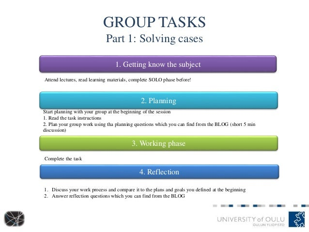 GROUP TASKS Part 1: Solving cases 1. Getting know the subject 2. Planning 3. Working phase 4. Reflection Attend lectures, ...