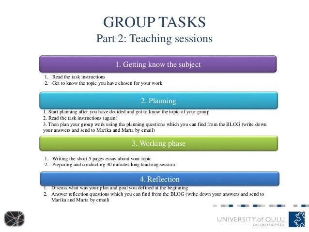 GROUP TASKS Part 2: Teaching sessions 1. Getting know the subject 2. Planning 3. Working phase 4. Reflection 1. Read the t...
