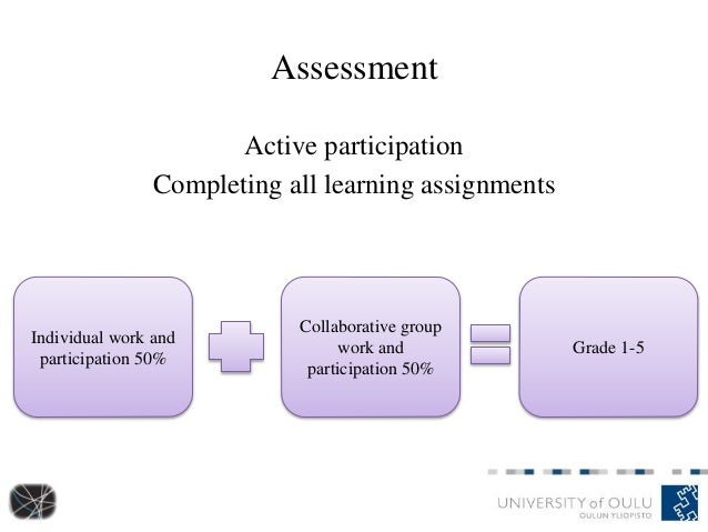 Assessment Active participation Completing all learning assignments Individual work and participation 50% Collaborative gr...