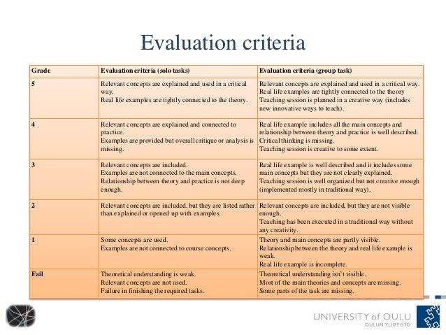 Evaluation criteria Grade Evaluation criteria (solo tasks) Evaluation criteria (group task) 5 Relevant concepts are explai...
