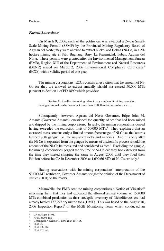 Supreme court decision srmi vs denr for Environmental management bureau region 13