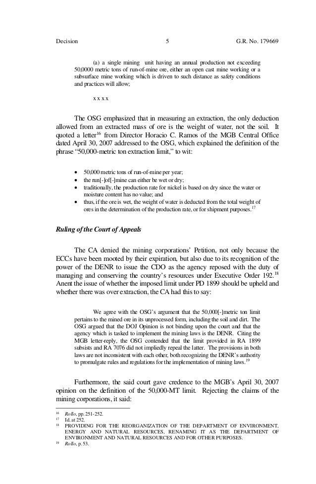 Supreme Court decision, SRMI vs  DENR