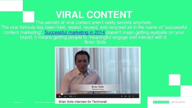 """26March 2014 Social Publishing en Influencers – SRM masterclass15 VIRAL CONTENT The secrets of viral content aren""""t really..."""