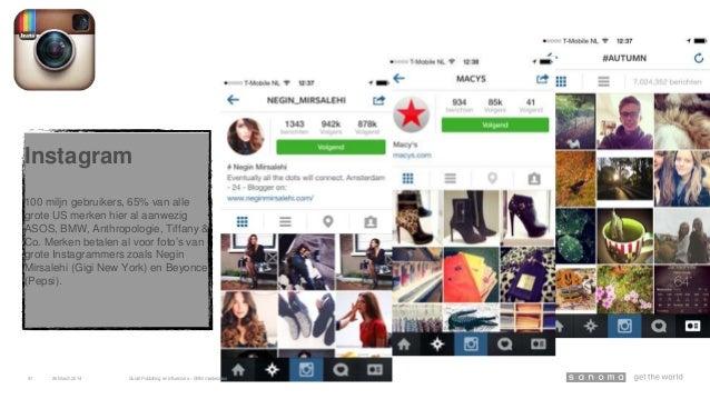 Instagram 100 miljn gebruikers, 65% van alle grote US merken hier al aanwezig ASOS, BMW, Anthropologie, Tiffany & Co. Merk...