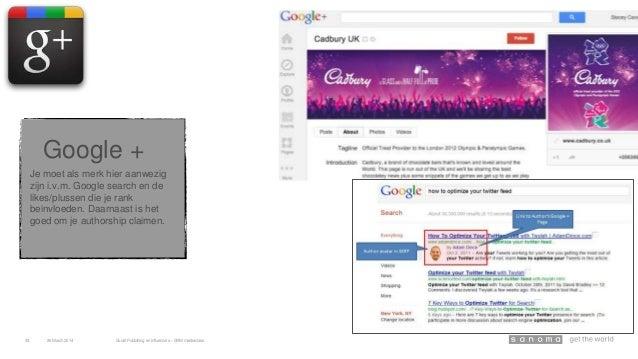 Je moet als merk hier aanwezig zijn i.v.m. Google search en de likes/plussen die je rank beinvloeden. Daarnaast is het goe...