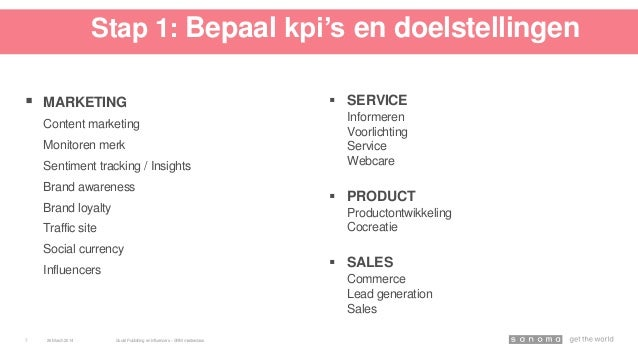 Stap 1: Bepaal kpi's en doelstellingen  MARKETING Content marketing Monitoren merk Sentiment tracking / Insights Brand aw...