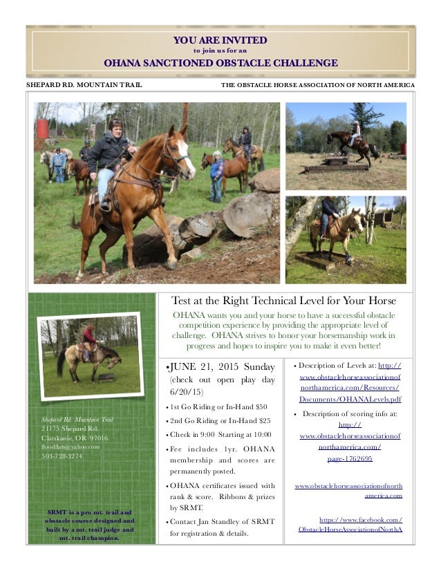 Test at the Right Technical Level for Your Horse OHANA wants you and your horse to have a successful obstacle competition ...