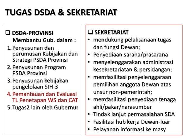  DSDA-PROVINSI Membantu Gub. dalam : 1.Penyusunan dan perumusan Kebijakan dan Strategi PSDA Provinsi 2.Penyusunan Program...
