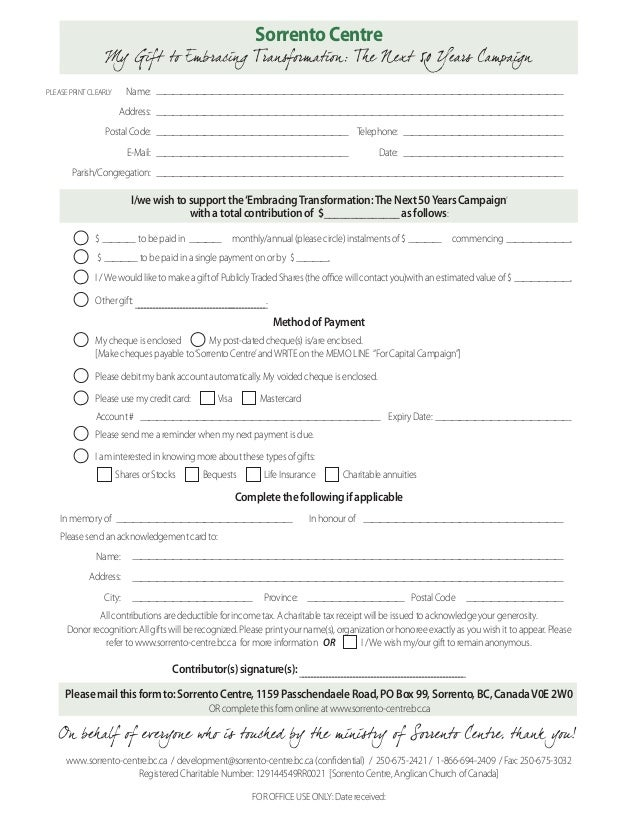 Sorrento Centre Pledge Form For Next  Capital Campaign