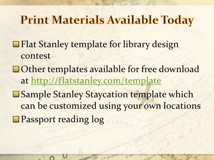 ... 12. Print Materials Available Todayu003cbr /u003eFlat Stanley Template ...