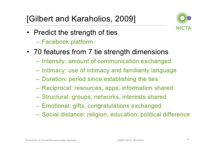 [Gilbert and Karaholios, 2009]• Predict the strength of ties       – Facebook platform• 70 features from 7 tie strength...
