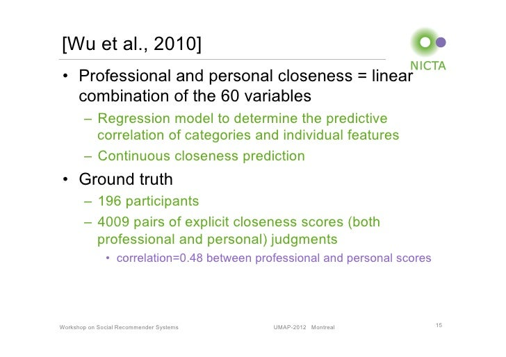 [Wu et al., 2010]• Professional and personal closeness = linear   combination of the 60 variables       – Regression mod...