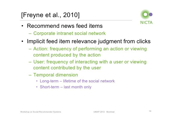 [Freyne et al., 2010]• Recommend news feed items       – Corporate intranet social network• Implicit feed item relevanc...