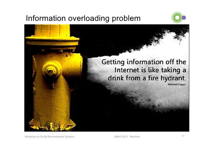 Information overloading problemWorkshop on Social Recommender Systems   UMAP-2012 Montreal   2