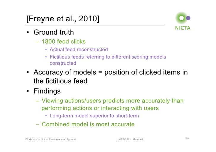 [Freyne et al., 2010]• Ground truth       – 1800 feed clicks              • Actual feed reconstructed              • F...