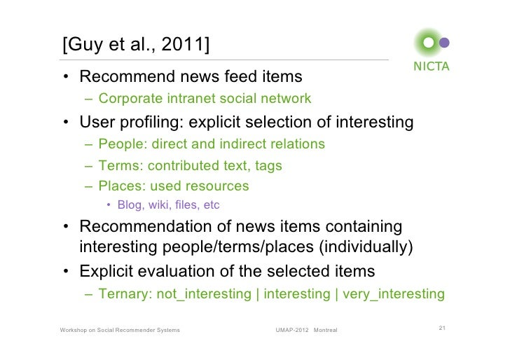 [Guy et al., 2011]• Recommend news feed items       – Corporate intranet social network• User profiling: explicit selec...