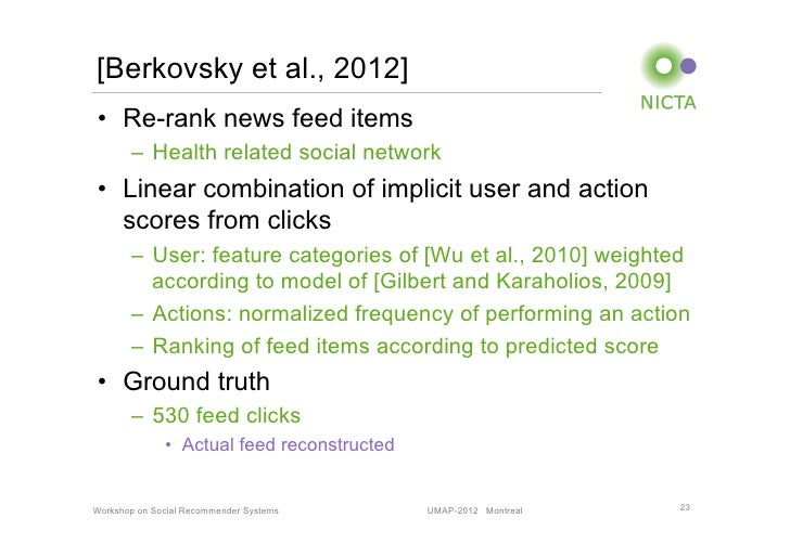 [Berkovsky et al., 2012]• Re-rank news feed items       – Health related social network• Linear combination of implicit...