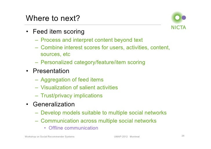 Where to next?• Feed item scoring       – Process and interpret content beyond text       – Combine interest scores for...