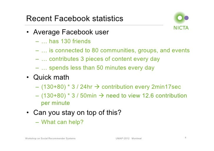 Recent Facebook statistics• Average Facebook user       – … has 130 friends       – … is connected to 80 communities, g...