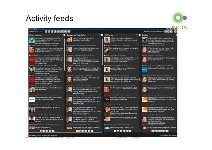 Activity feedsWorkshop on Social Recommender Systems   UMAP-2012 Montreal